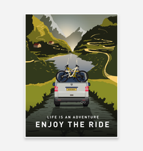 Load image into Gallery viewer, Enjoy The Ride Mountain Bike Art Print with T5 VW Camper Van