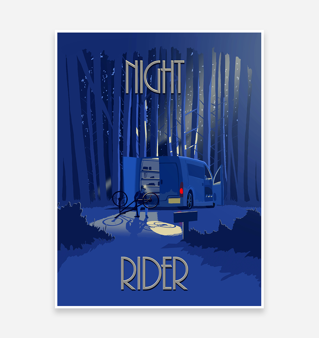 'Night Rider'' Art Print - TrailMaps.co.uk