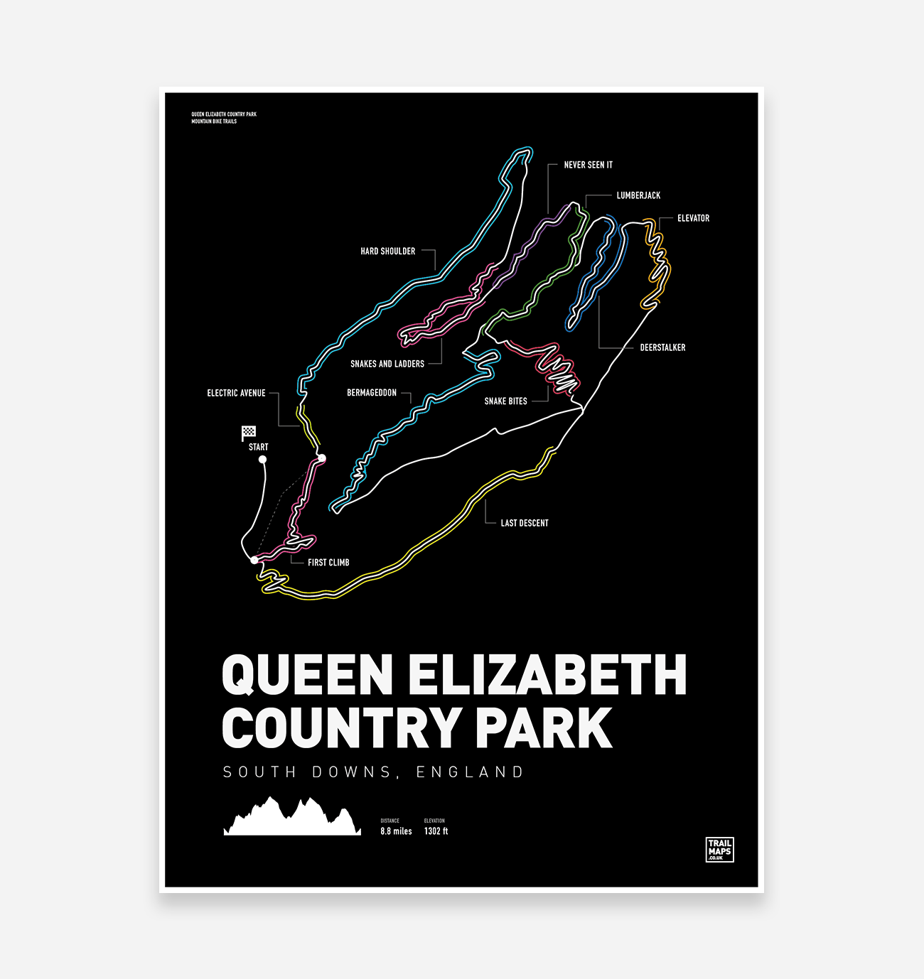 Queen Elizabeth Country Park Art Print - TrailMaps.co.uk