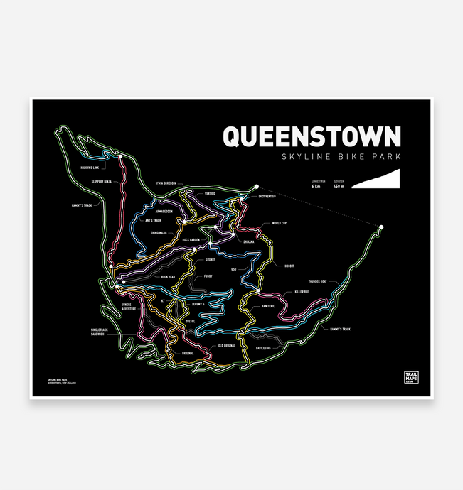 Queenstown Skyline Bike Park Art Print - TrailMaps.co.uk