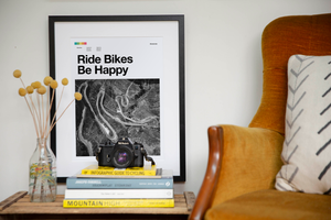 Road Cycling Art Print - Ride Bikes Be Happy