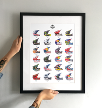 Load image into Gallery viewer, 'Skid Lids' Mountain Bike Helmets Art Print