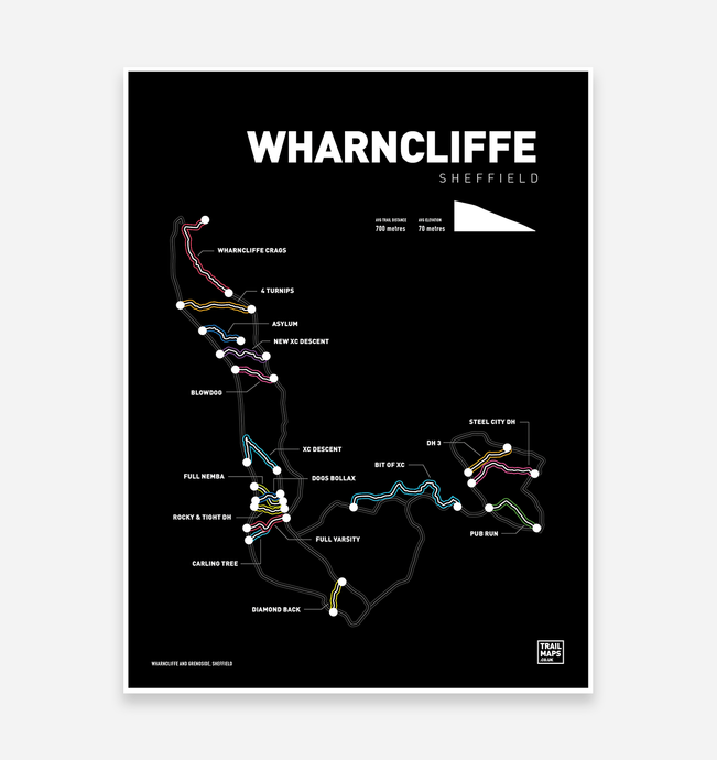 Wharncliffe and Grenoside Art Print - TrailMaps.co.uk
