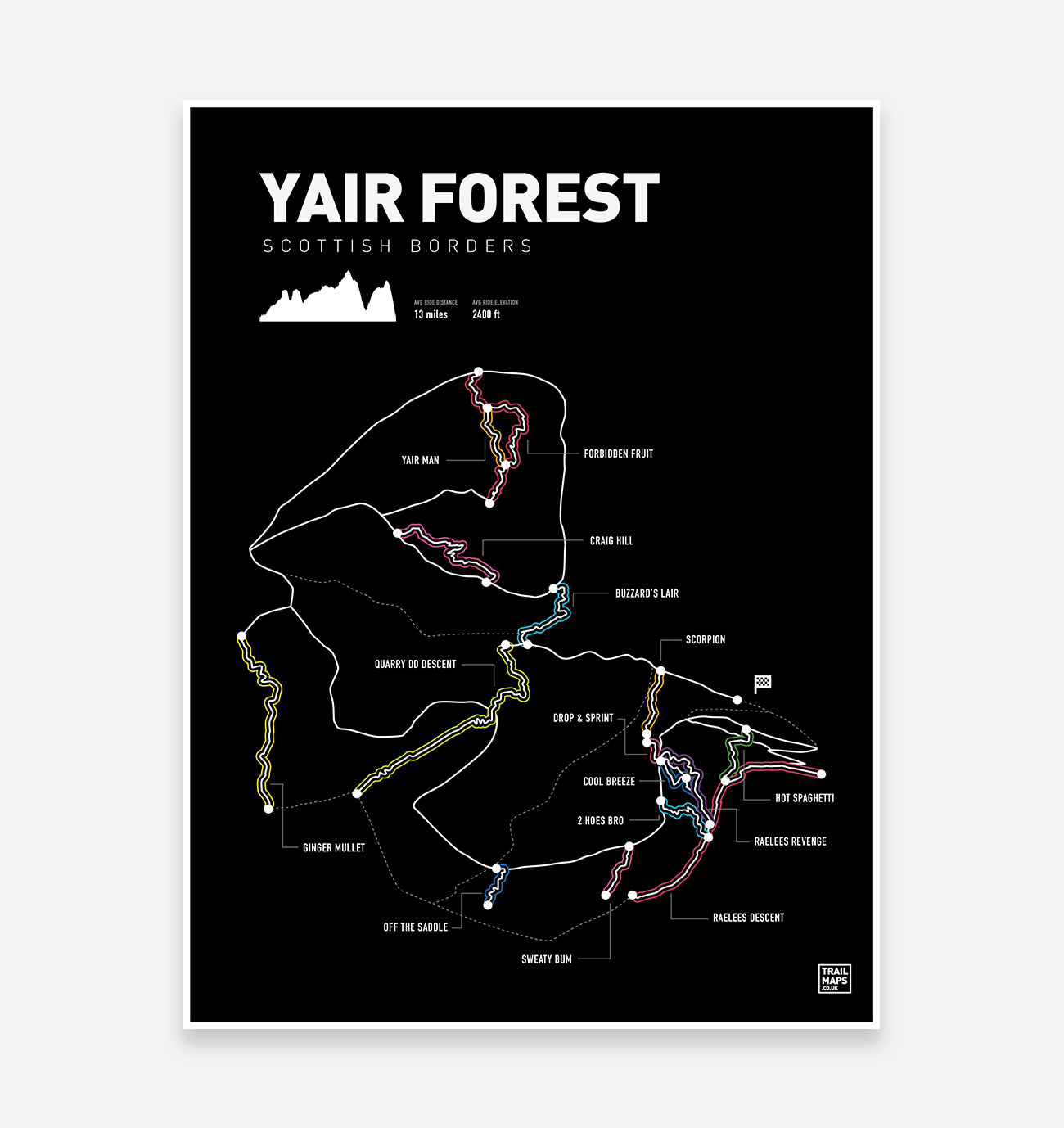 Yair Forest Art Print - TrailMaps.co.uk