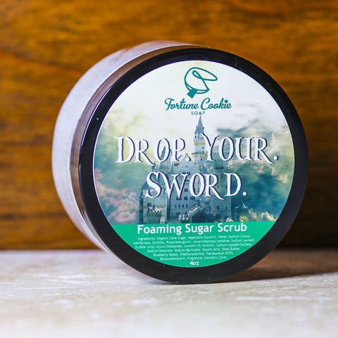 DROP. YOUR. SWORD. Foaming Sugar Scrub - Fortune Cookie Soap