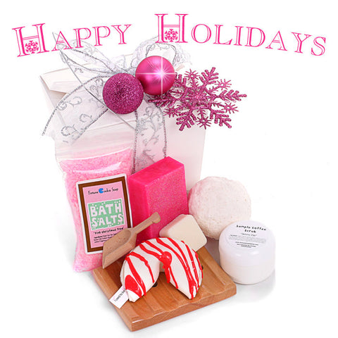 White Christmas Gift Basket - Fortune Cookie Soap
