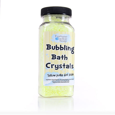 Yellow Polka Dot Bikini Bubbling Bath Crystals11 oz. - Fortune Cookie Soap