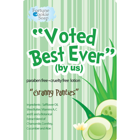 Granny Panties Voted best! (by us) Lotion - Fortune Cookie Soap