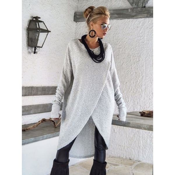 Casual Long Sleeve Pullover Front Slit Knitted Blouse Tops Sweaters - Casual Freaks