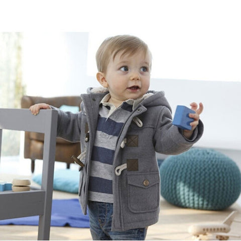 New Baby Infant Child Boys Winter Fleece Horn Button Coat Hoodies 6M-3T Fashion Little Boys - Casual Freaks