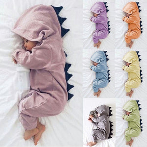 Spring and Autumn Cute Dinosaur Warm Baby Jumpsuit Hoodies - Casual Freaks