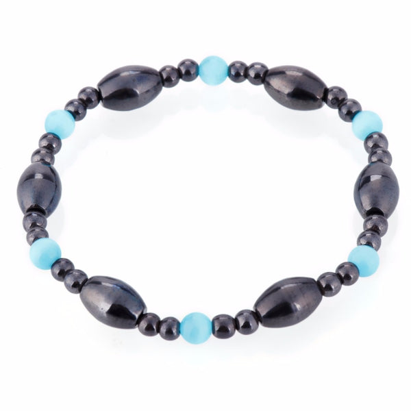 Biomagnetism Nature Magnetic Therapy Black Stone Blue Cat Eye Bracelet - Health Care Weight Loss Bracelet - Casual Freaks