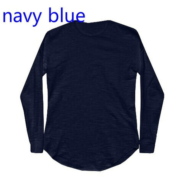 New Men Casual Tops Cotton Long Sleeve O-Neck Silm Fit T-shirt - Casual Freaks