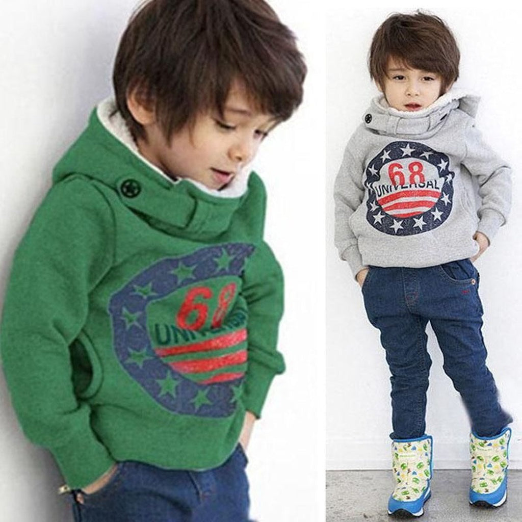 Green/Gray Baby Boys Grils Kids Coat Tops Hoodies Jacket Sweater Outwear - Casual Freaks