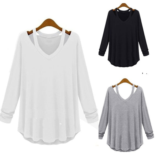 Fashion Women's Casual Long Sleeve V-Neck Cotton Tee Tank Top Shirt Blouse - Casual Freaks