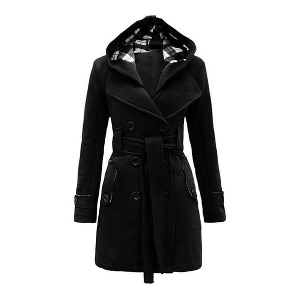 Elegant Winter Woolen Hooded Blend Coat With Belt - Casual Freaks