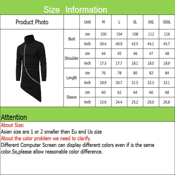 Casual Oblique Zipper Slim Fit Solid Color Hoodie - Casual Freaks