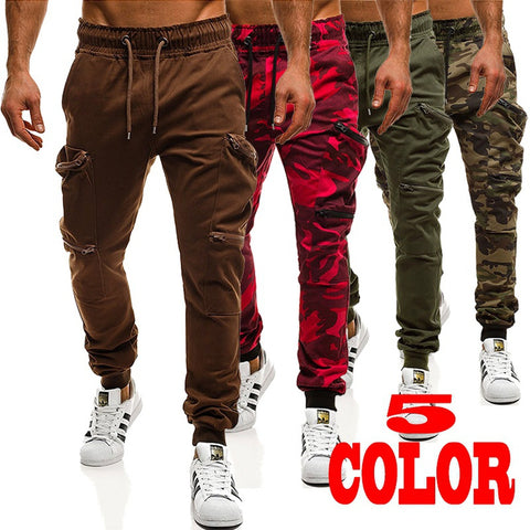 Fashion Men's Sport Pants Jogging Pants Slim Fit Trousers Big Pocket Sweatpants Casual Cargo Pants - Casual Freaks