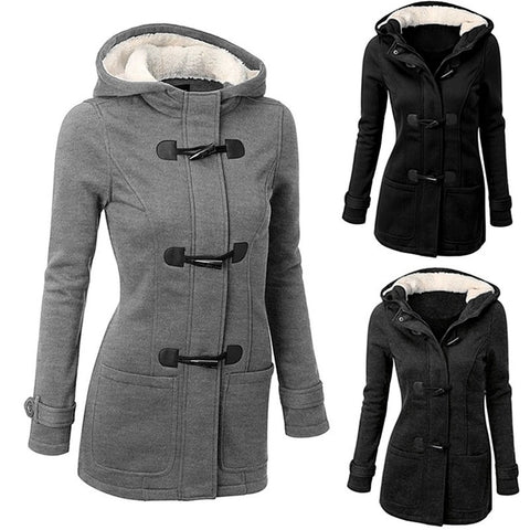 Classic Women Winter Claw Clasp Wool Blended Hooded Coat - Casual Freaks
