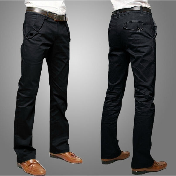 Men's Slim Fit Casual Smart Straight Long Business Pants - Casual Freaks