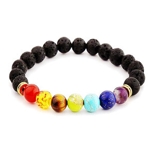 Chakra Super 7 Healing Charm Black Natural Lava Stone Bracelet Adjustable - Casual Freaks