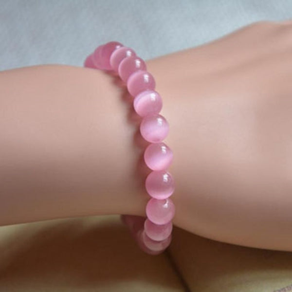 Pink Opal Beads Bracelet Bangle - Casual Freaks
