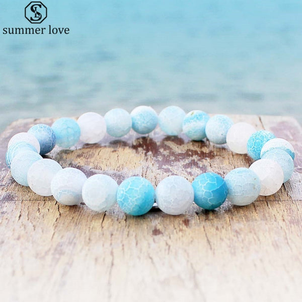 Frost Cracked Weathered Gem Strand Agat Bracelet - Casual Freaks