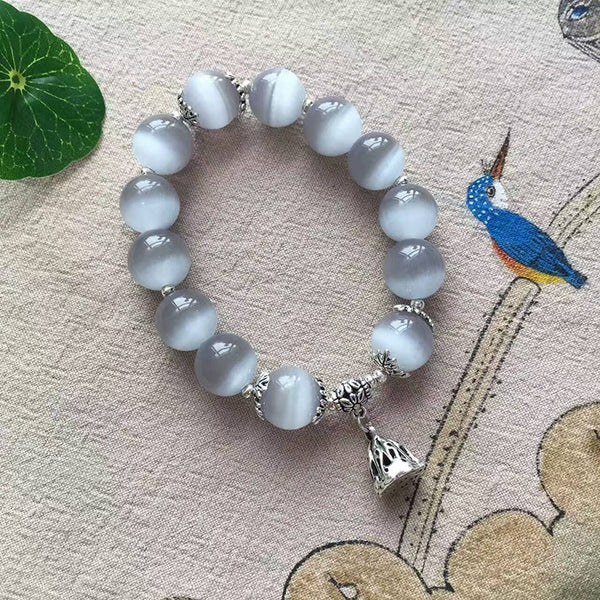Gray Natural Cat Eye Stone Bracelets Tibetan Silver lotus root Pendant - Luck Enhanced - Casual Freaks