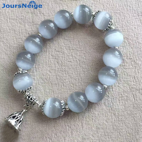 Gray Natural Cat Eye Stone Bracelets Tibetan Silver lotus root Pendant - Luck Enhanced