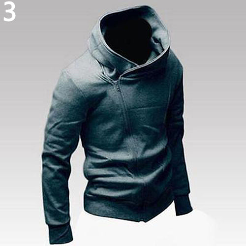 Men Casual Slim Fit Cardigan Oblique Zipper Hoodie - Casual Freaks