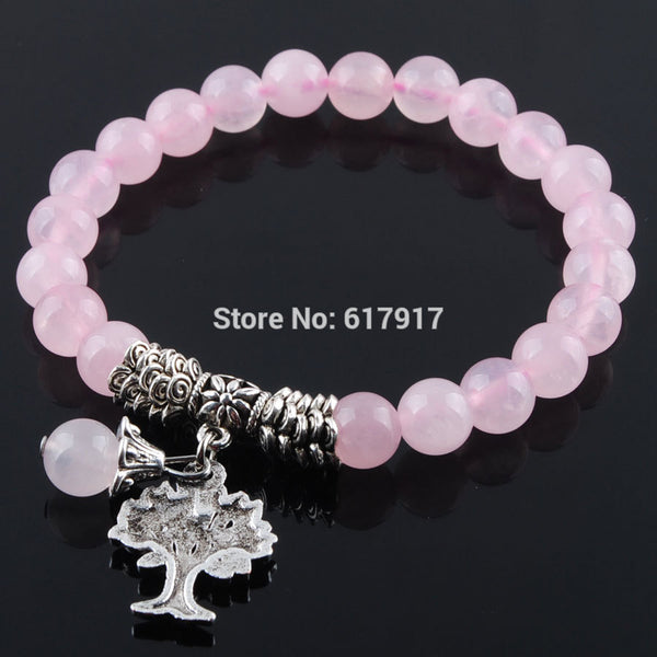 Natural Rose Quartzs Healing Gem Stone - Reiki Tree Of Life Charm Meditation Bracelet - Casual Freaks