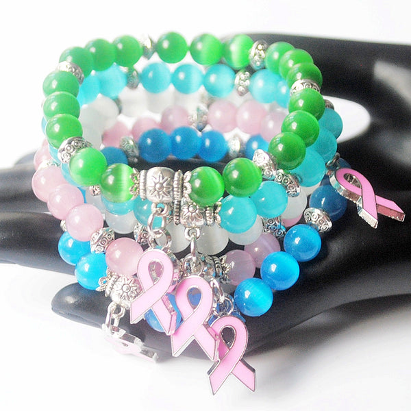 New Breast Cancer Awareness Pink Ribbon Charm Bracelet - Casual Freaks