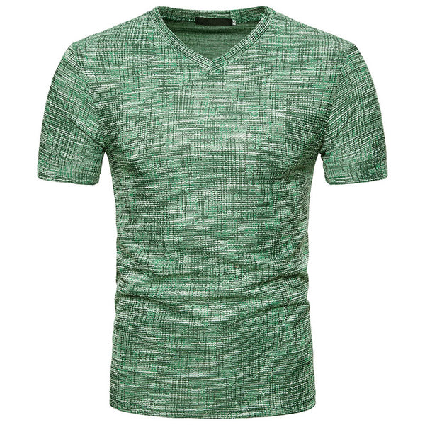 New Hot Fashion Men's Summer Casual Solid Hole V Neck - Casual Freaks