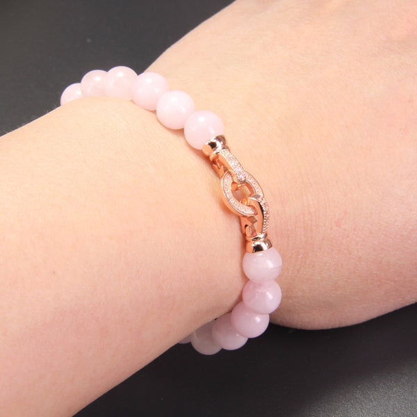 Rose Pink Quartz with Rose Gold Color Macro Paved - Romantic Charm - Casual Freaks