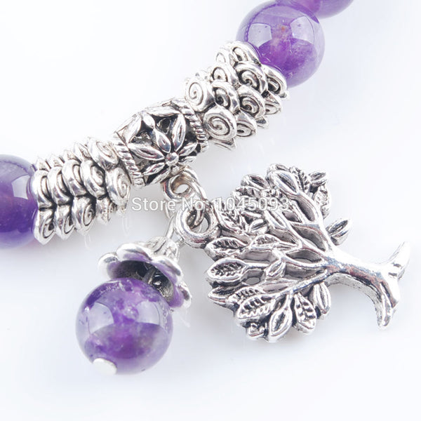 Natural Amethysts Gem Stone Bracelet - Mala Beads Tree Of Life Charms Meditation Ethnic - Casual Freaks