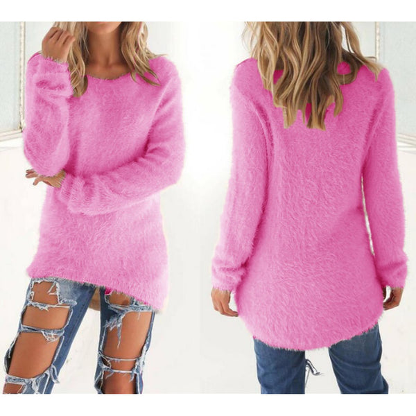 Casual Tops Mohair Blend Fuzzy Blouse Pullover Jumper - Casual Freaks
