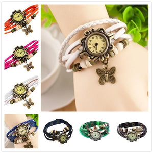 Exude Elegant Vintage Butterfly Drop Leather Bracelet Watch - Casual Freaks