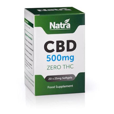 Natra CBD - 20 Soft Gel Capsules - 500mg