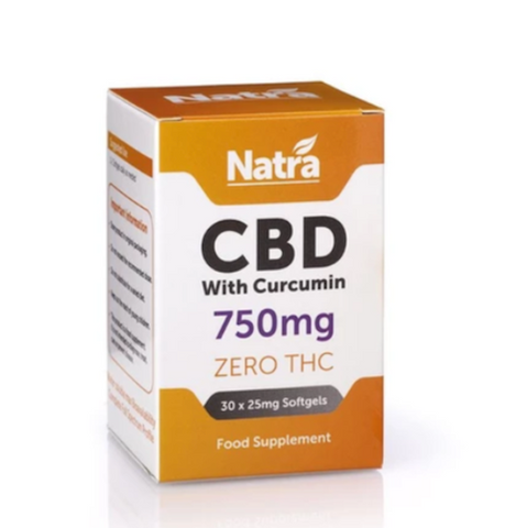 Natra CBD - 30 Soft Gel Capsules with Curcumin - 750mg