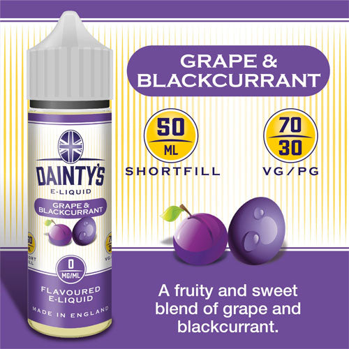 Grape And Blackcurrant - Dainty's 50ml - CRAM Vape - Scunthorpe Vape Store and Doncaster Vape Store