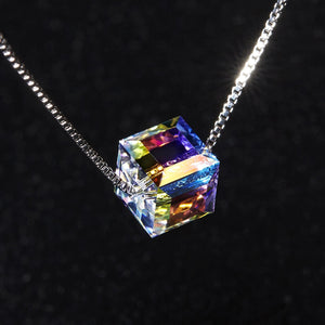 Iridescent Crystal Cube Necklace