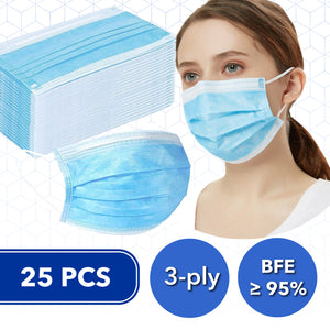 25 Pcs Disposable 3-ply Non-Woven Fabric Face Masks (BFE≥95%)