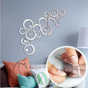 Sweet Circles Self-Adhesive Mirror Wall Sticker - 24 Pieces Total