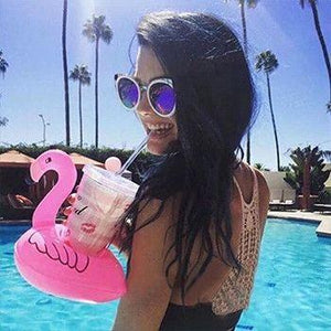 2 Pack - Floating Flamingo Drink Holder - It's Pool Time!