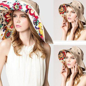 Large Brim Floppy Foldable Roll Up Beach Hat - Sun Protective Rating of UPF 50+