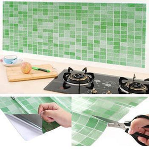 3D Mosaic Heat Resistant Self-Adhesive Wallpaper - Perfect for Backsplash, Bathroom, and Kitchen