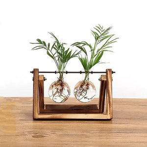 Glass Bulb Vase Set w/ Wooden Stand
