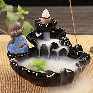 Ceramic Waterfall Incense Zen Burner w/ 40 incense cones