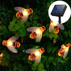 Solar-Powered LED Bee String Lights