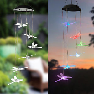 Solar-powered Dangling Dragonfly Light
